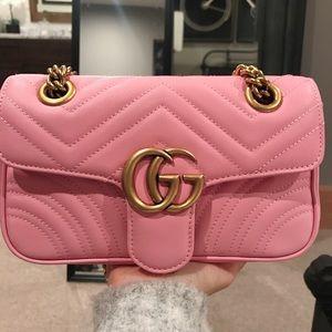 af14db8d0 Gucci Bags | Marmont Leather Pink Mini Flap Bag | Poshmark